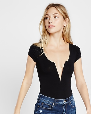 Express Womens Plunge Wire Thong Bodysuit
