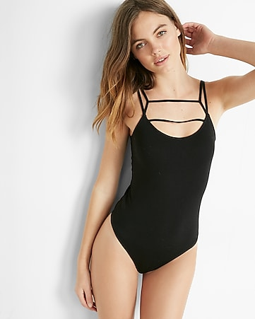 express one eleven double strap front thong bodysuit