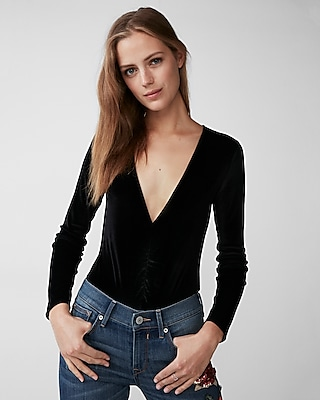 Express Womens Petite Ruched Front Velvet Thong Bodysuit