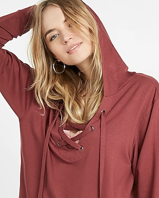 Express Womens Express One Eleven Lace-Up Hoodie
