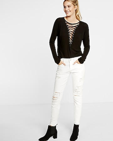 express one eleven deep v-neck lace-up tee