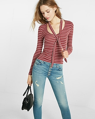 Simple Stripe Ribbed Tie Neck Tee