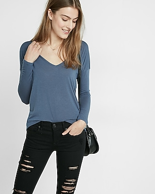 Express Womens Express One Eleven Open Back Deep V Tee  X Small