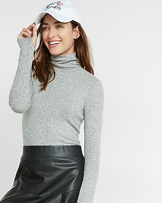 Express Womens Express One Eleven Brushed Turtleneck Gray XX Small