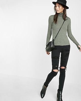 Express Womens Express One Eleven Brushed Turtleneck Green X Large