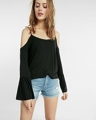 Express Womens Flare Sleeve Cold Shoulder Tee Black XX Small