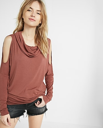express one eleven cowl neck cut-out shoulder tee