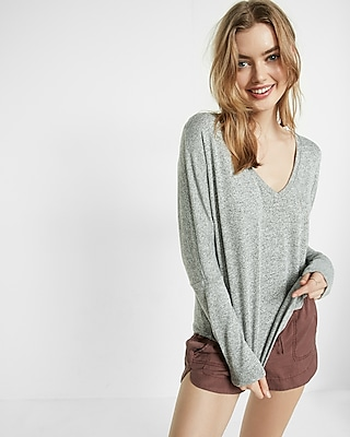 Express Womens Express One Eleven Marled Knit V-Neck Tee Gray XX Small