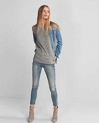 Express Womens Heathered Plush Jersey Ribbed Dolman Tunic