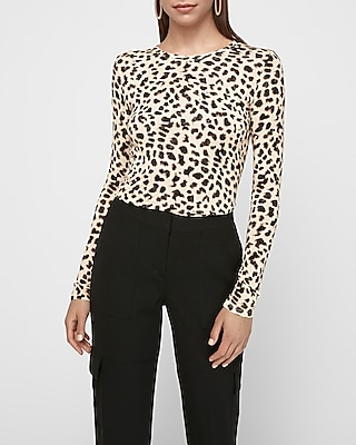 Express Womens Express One Eleven Leopard Print Crew Neck Tee