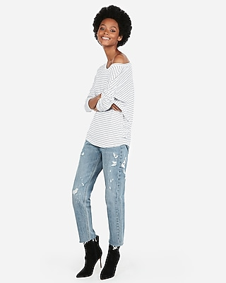 Express Womens Express Womens Express One Eleven Striped Off The Shoulder London Tee