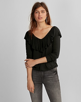 Express Womens Double Ruffle Banded Hem Tee
