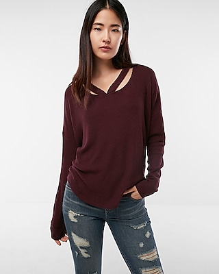 Express Womens Ribbed Double Slash Neck Tunic Top