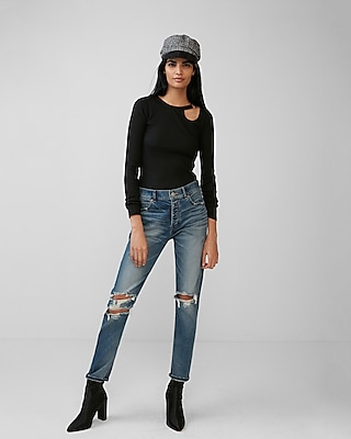 Express Womens O-Ring Cut-Out Tee