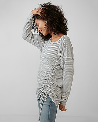Express Womens Striped Side Ruched Tunic Tee