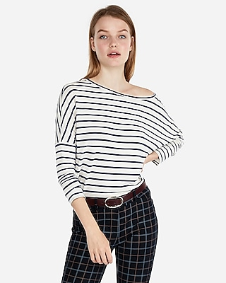 Express Womens Express Womens Express One Eleven Off The Shoulder Relaxed London Tee