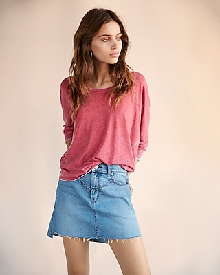 Express Womens Scoop Neck Dolman Tee Pink XX Small