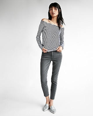 Express Womens Express One Eleven Striped Slim Tee