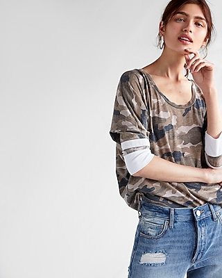 Express Womens Express One Eleven Camo Burnout Relaxed Dolman Tee