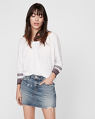 Express Womens Express One Eleven Striped Sleeve Relaxed Dolman Tee