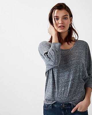Express Womens Express One Eleven Marled Relaxed Dolman Tee