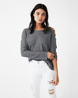 Express Womens Strappy Shoulder Soft Knit Tee