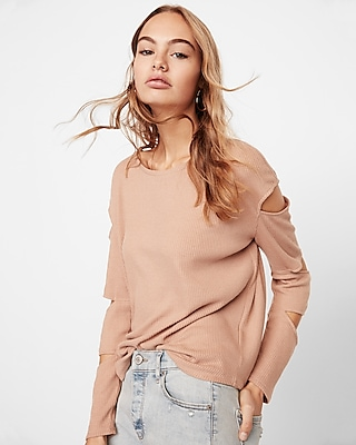 Express Womens Triple Slash Sleeve Tee