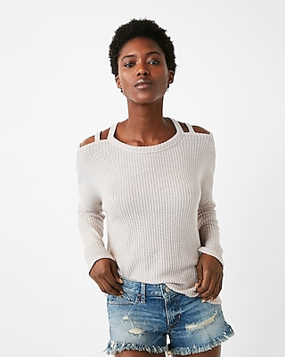 Express Womens Heathered Strappy Shoulder Soft Knit Tee