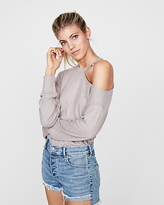 Express Womens O-Ring Slash Neck Top