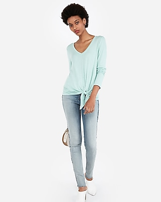 Express Womens Express One Eleven V-Neck Tie Front Slim Tee Green Women's Xs Green Xs