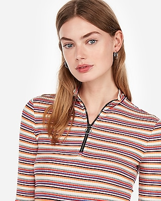Express Womens Express One Eleven Striped Zip Front Tee Pink Women's Xs Pink Xs