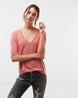 Express Womens V-Neck London Tee Pink XX Small