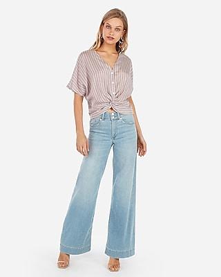 Express Womens Stripe V-Neck Twist Front Blouse