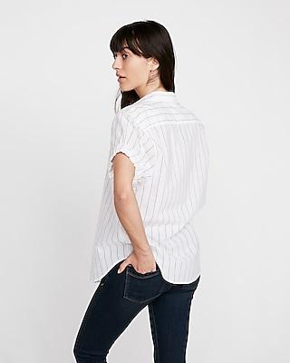 Express Womens Short Sleeve Striped Cotton Shirt