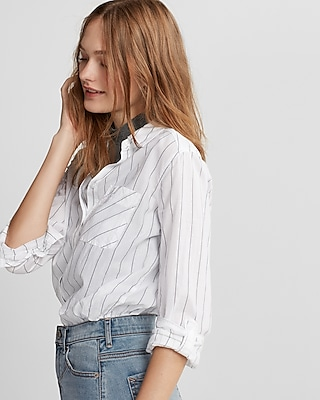 Express Womens Striped One Pocket Cotton Boyfriend Shirt
