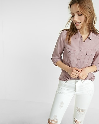 Express Womens Soft Twill Military Boyfriend Shirt