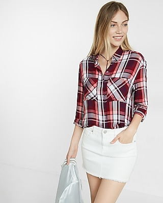 Pink Oversized Plaid Button-up Shirt