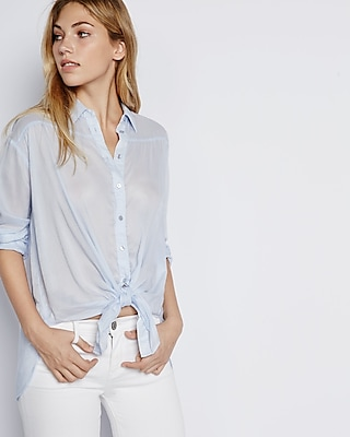 Express Womens Tie-Front Button Down Shirt Blue X Small