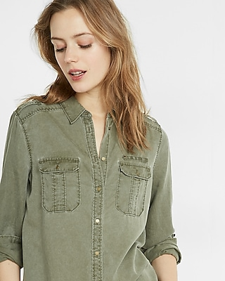 Express Womens Soft Twill Military Boyfriend Shirt Green XX Small