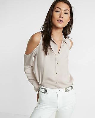 Express Womens Express Womens Cold Shoulder Silky Soft Twill Boyfriend Shirt Soft Impala Xx Small