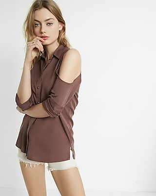 Express Womens Cold Shoulder Silky Soft Twill Boyfriend Shirt