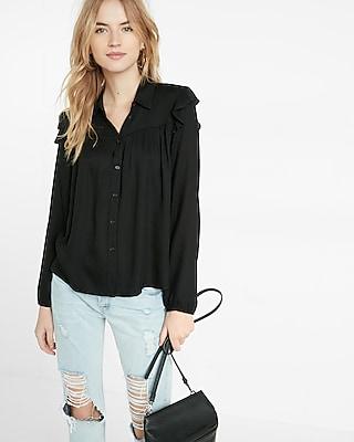 Express Womens Ruffle Shoulder Button Front Shirt Black XX Small