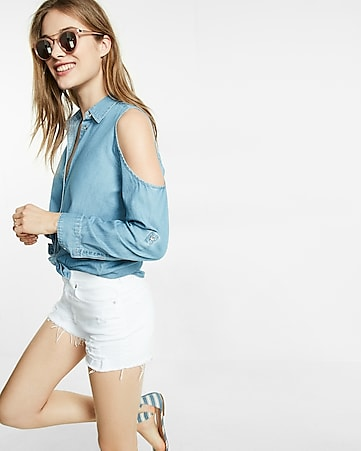 cold shoulder denim boyfriend shirt
