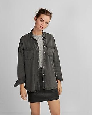 Express Womens Drop Shoulder Oversized Silky Soft Twill Shirt