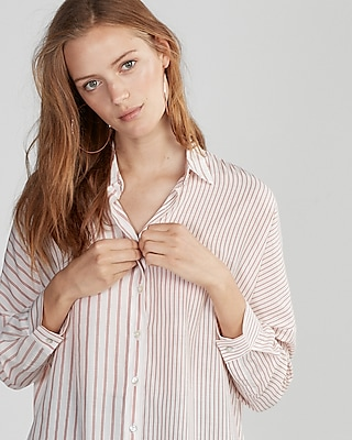 Express Womens Vertical Stripe Shirt
