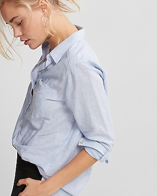 Express Womens Thin Stripe One Pocket Cotton Boyfriend Shirt