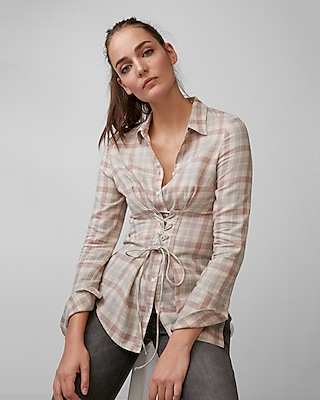 Express Womens Flannel Corset Shirt