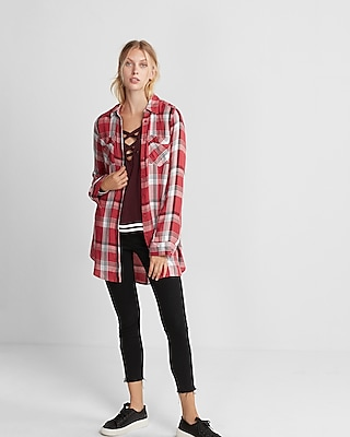Express Womens Red And Black Plaid Button Front Tunic