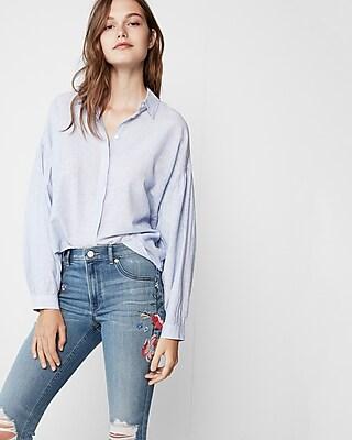 Express Womens Striped Balloon Sleeve Shirt
