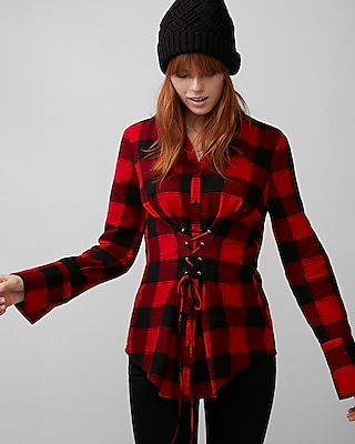 Express Womens Check Flannel Corset Shirt